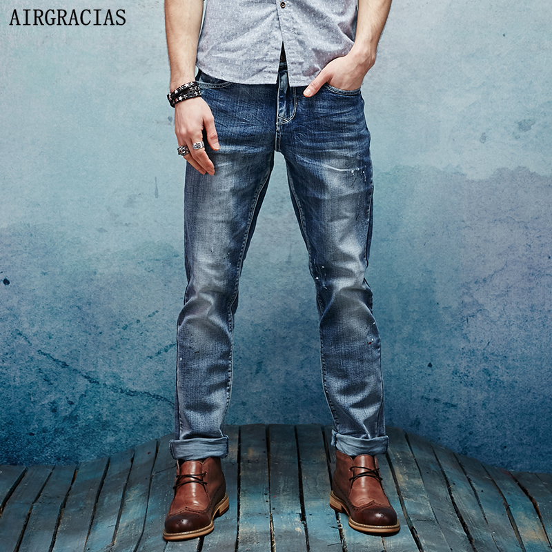AIRGRACIAS High Quality Jeans Men Straight Denim Casual Men Long Pants Trousers Top Brand Zipper Fly Jean Plus Size 28-38 airgracias elasticity jeans men high quality brand denim cotton biker jean regular fit pants trousers size 28 42 black blue
