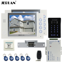 JERUAN Wired 8`` video doorphone Record intercom system kit 2 monitor New RFID waterproof Touch Key password keypad Camera 8G SD