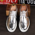 Горячие продажи мужчины башмаки обувь золотой серебряный цвета плоские повседневная обувь высота увеличение дышащие оксфорды размер 39-43