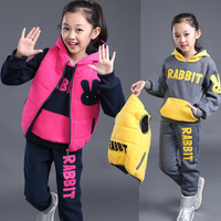 Fashion Korean Children Clothing 3 Pcs Sleeveless Vest Coat Pants And Hoodie Suit Girl Winter Clothing