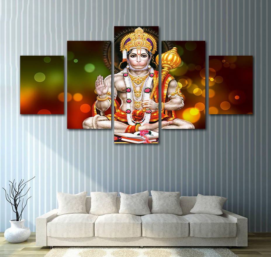Frameless 5 Pieces Canvas Paintings God Hanuman Pictures for Home Decoration Fashion Buddha Printed Poster Wall Artwork