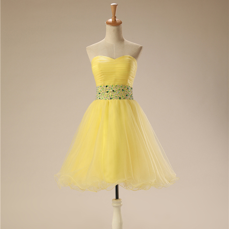 New Arrival Sweetheart Tulle Yellow Short   Cocktail     dresses   2019 Ever pretty jurken robe   cocktail     dress   Evening party
