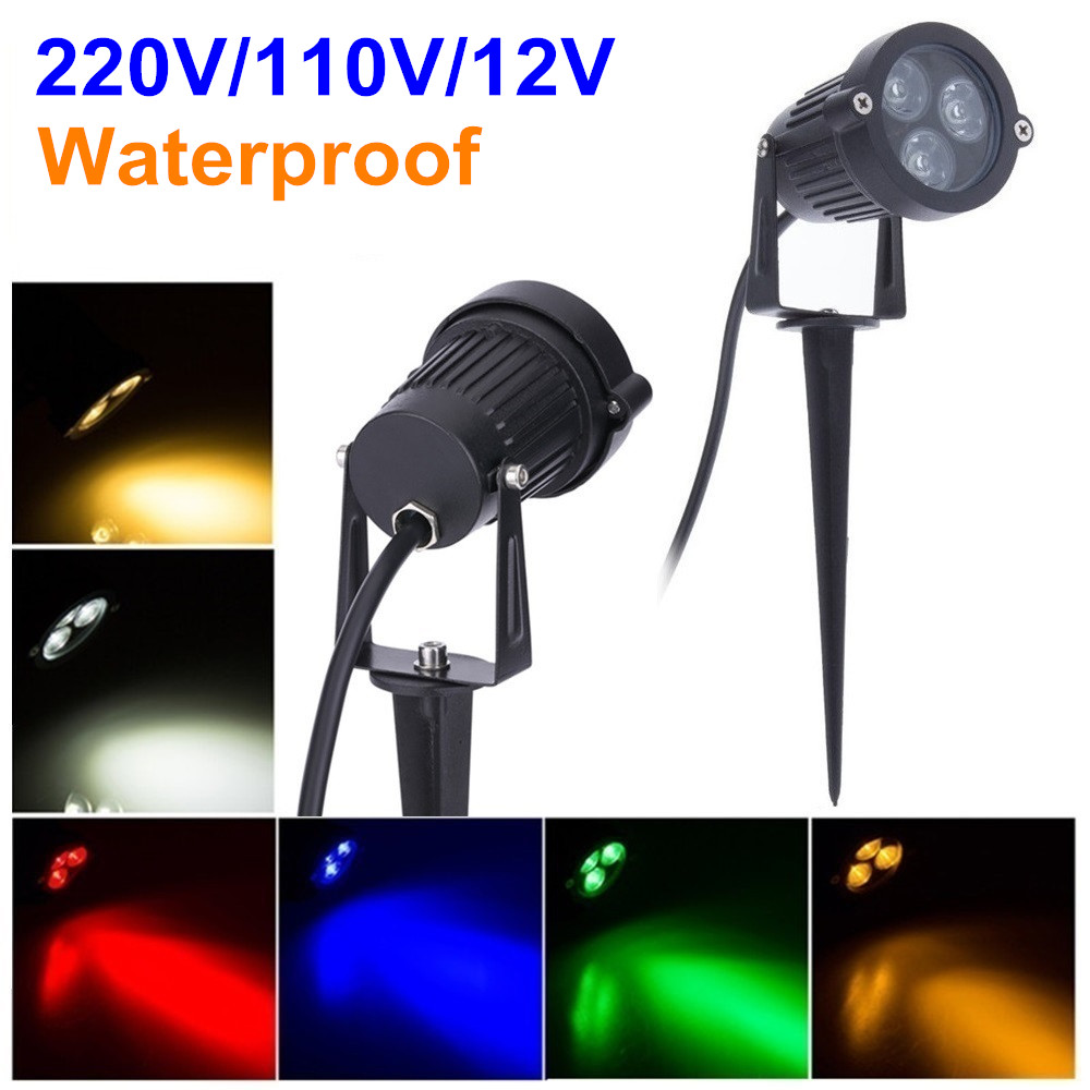 220V 110V Outdoor LED Garden Lawn Light 9W Landscape Lamp Spike Waterproof 12V Path Bulb Warm White Green Spot Lights free ship 3w 9w outdoor led lawn light 12v 24v 110v 220v spike lawn light green blue yellow red warm white for garden decorating