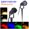 220V 110V Outdoor LED Garden Lawn Light 9W Landscape Lamp Spike Waterproof 12V Path Bulb Warm White Green Spot Lights