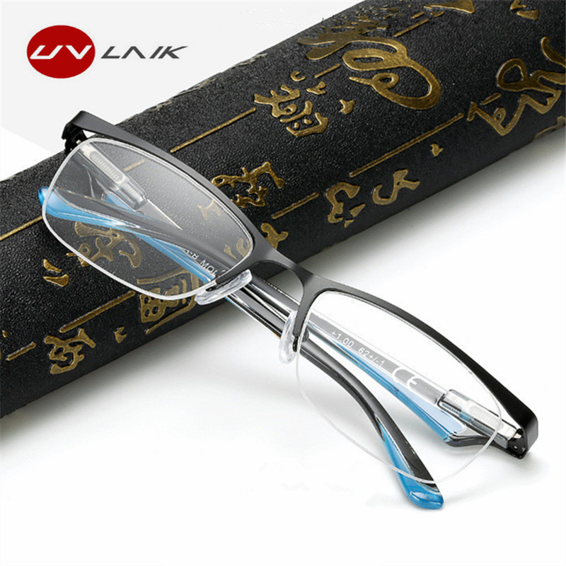 UVLAIK High Qualiity Reading Glasses Men Anti Radiation Fatigue Blue Light Filter Lens Eyeglasses Ultra Light Presbyopia Glasses