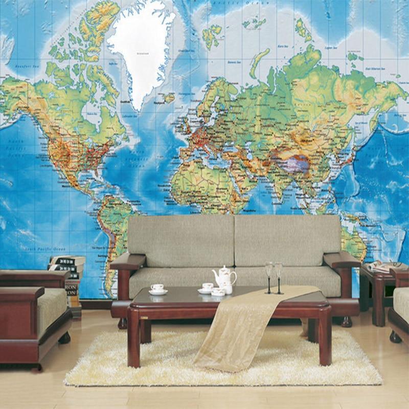 Study World Map.Hd World Map Photo Mural Wallpaper Study Kid S Room Living Room