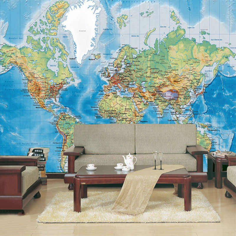 HD World Map Photo Mural Wallpaper Study Kid\'s Room Living Room Decor  Wallpaper Modern Design Non-Woven Wall Papers Papel Tapiz