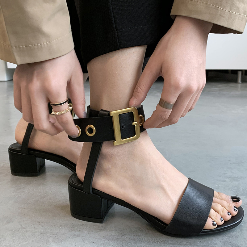 SARAIRIS 2019 grande taille 42 véritable cuir de vache en peau de mouton talons chunky femmes chaussures élégant fête sandales femme chaussures d'été