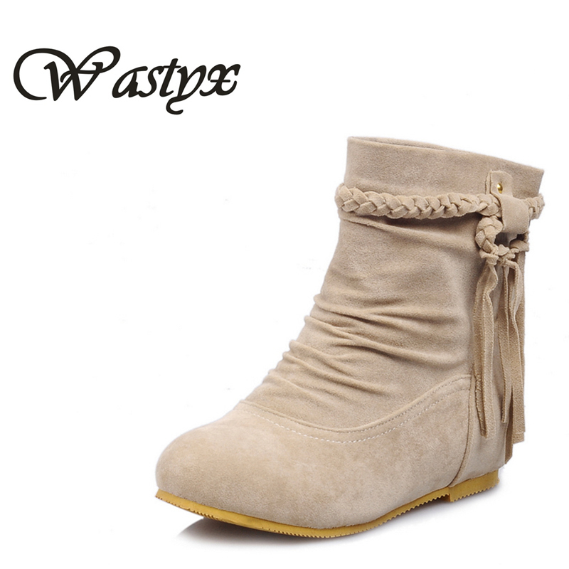 Wastyx new 2017 women boots fashion fringe ankle boots low heels shoes woman round toe winter warm  boots plus size 34-43 enmayla ankle boots for women low heels autumn and winter boots shoes woman large size 34 43 round toe motorcycle boots