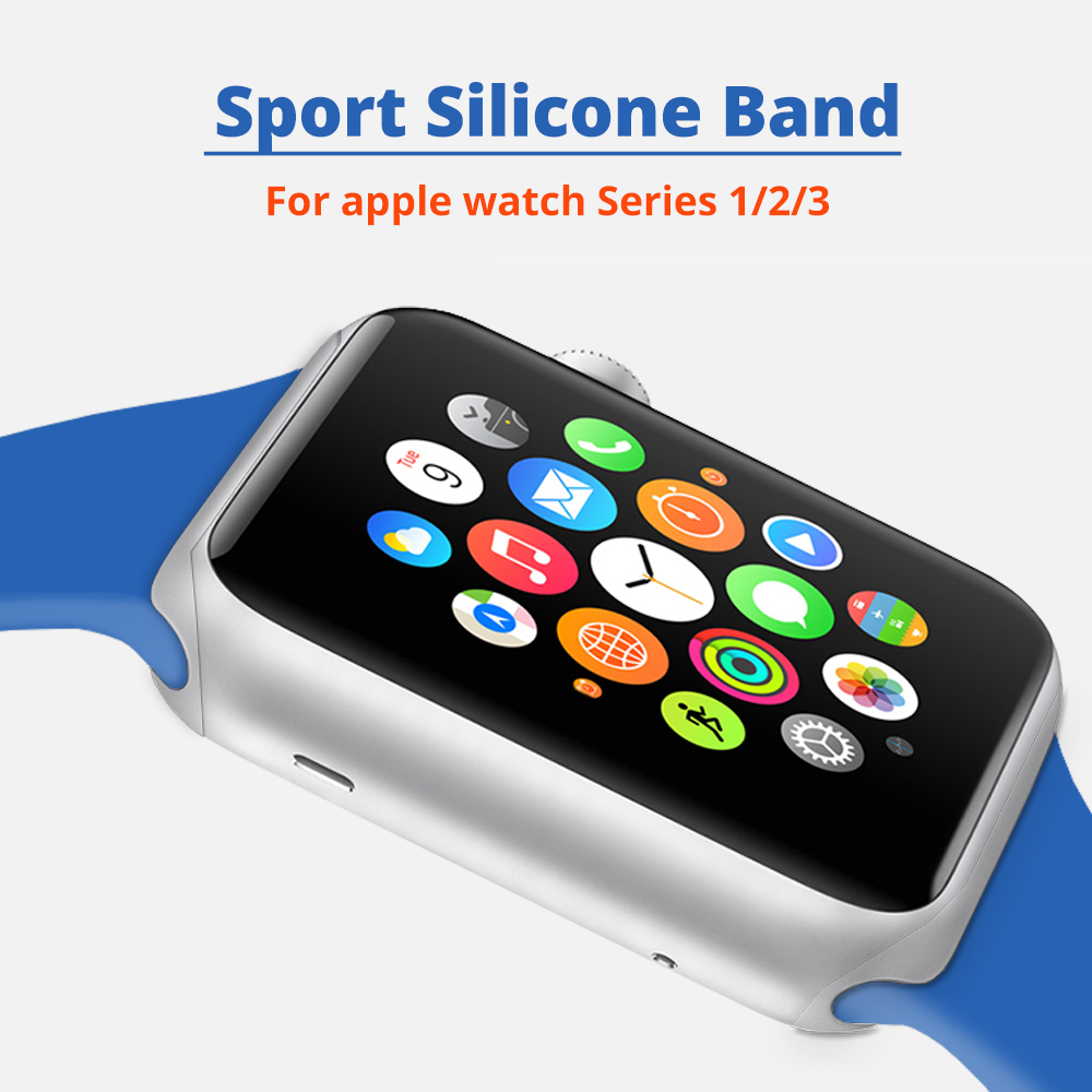 Silicone Sport Band for Apple Watch 42mm 38mm Series 3 2 1 Replacement Watch Strap for iWatch Bands Bracelet with metal Buckle sport loop for apple watch band case 42mm 38mm nylon watch strap bracelet with metal frame protector case cover for iwatch 3 2 1
