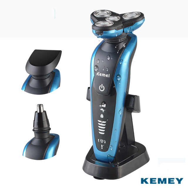 Kemei 3 in 1 4D Floating Heads Shaving machine Nose Trimmer Electric Rechargeable Shaver