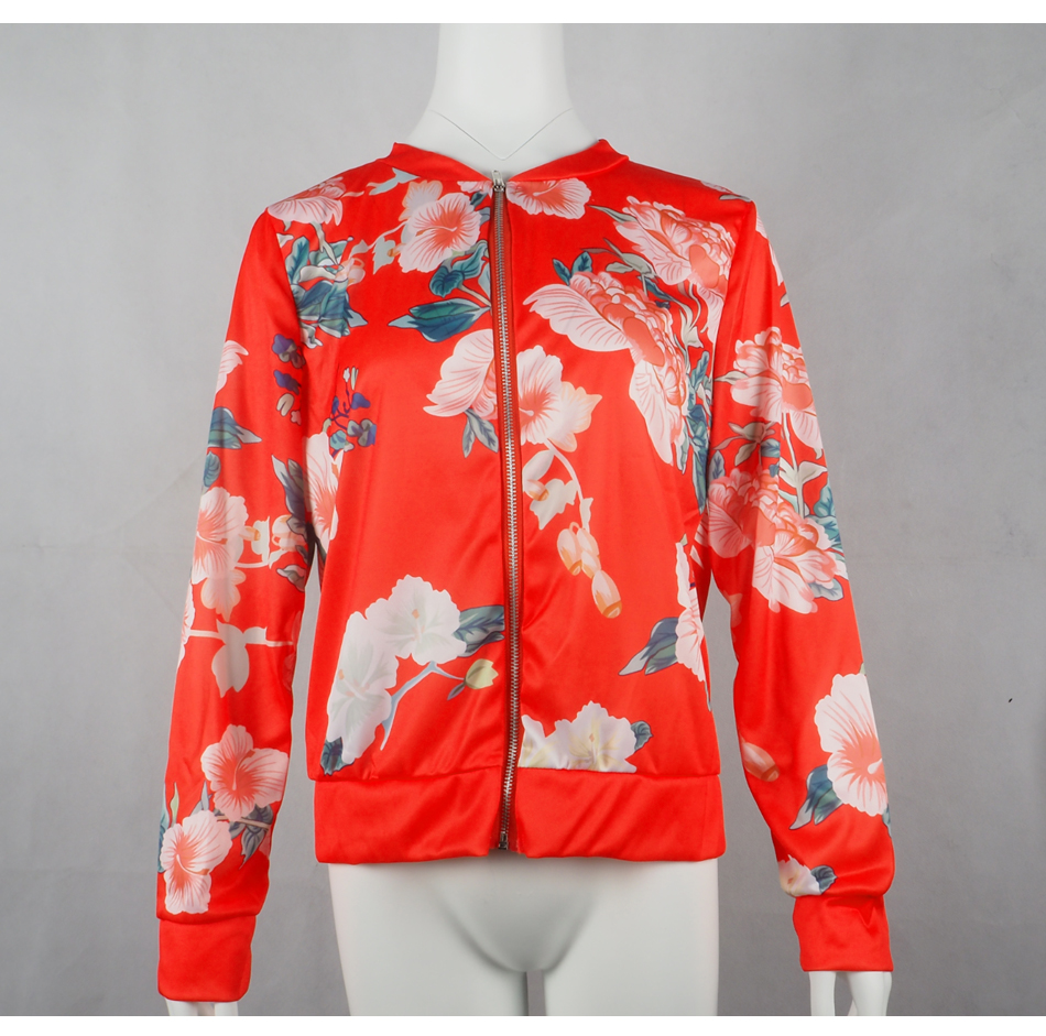HTB1GekkSrrpK1RjSZTEq6AWAVXae Bomber Jacket Women Floral Print Plus Size Coat Spring Summer Ladies Casual Classic O-Neck Long Sleeve Outwears Basic Coats