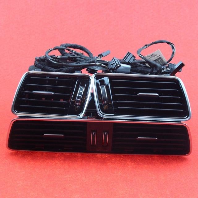 3 PCS OEM Black Piano Paint Chrome Car Center Console Air Condition Vents For VW Passat B6 B7 CC R36 3AD 819 701 A 3AD 819 702 A