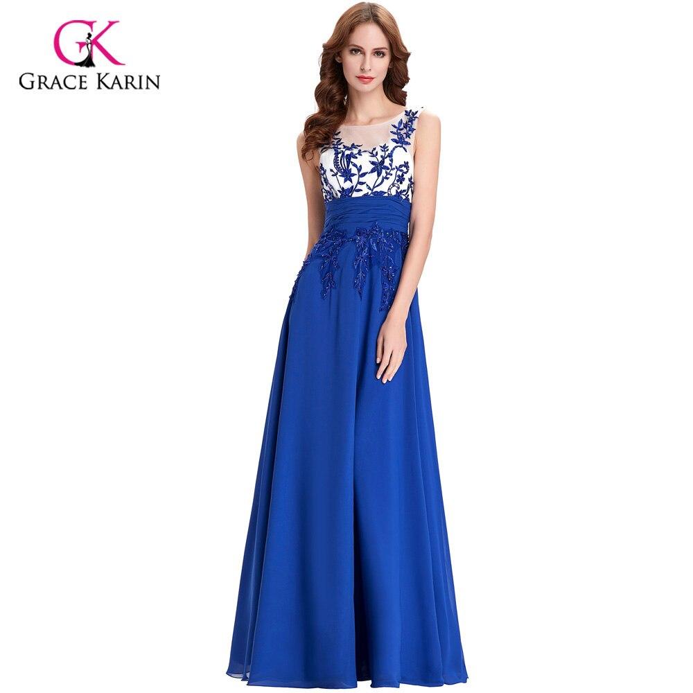 ▽2018 Grace Karin Chiffon Royal Blue Cap Sleeve Evening Dresses ...
