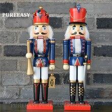 2pcs/set 36CM Nutcrackers colletction Christmas home decoration Orignal wood Figurines ornaments Puppet