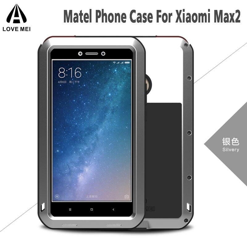 Xiaomi Max 2 Caso Vida À Prova D' Água À Prova de Choque Amor Mei Caso o Metal De Alumínio + Vidro Temperado Para Xiaomi Mi Max 2