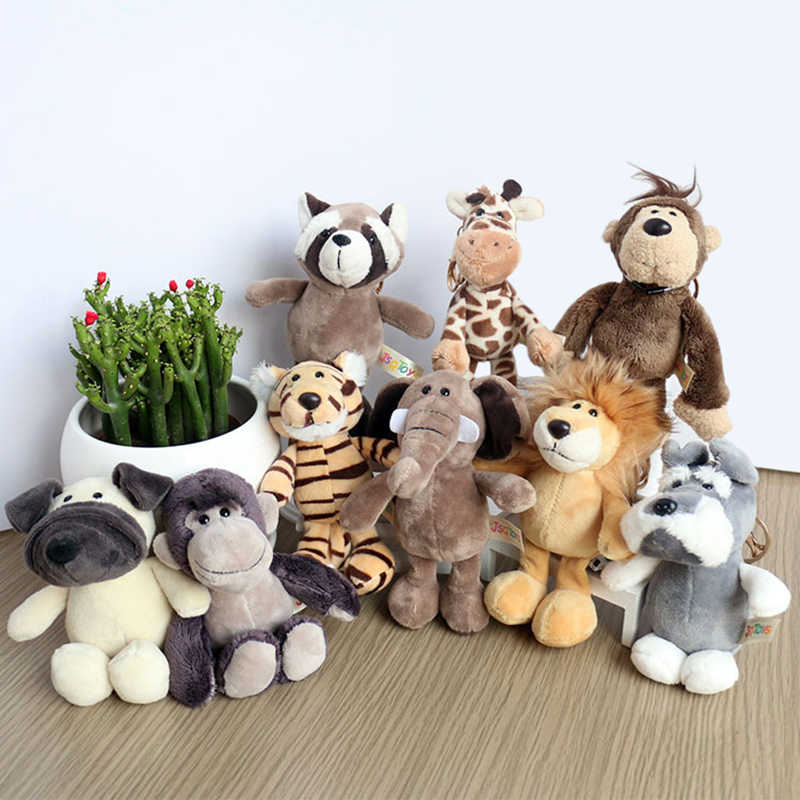 Bonito dos desenhos animados animal de pelúcia chaveiro 15 cm tartaruga elefante tigre leão hipopótamo guaxinim bulldog gato pinguim macaco brinquedo de pelúcia