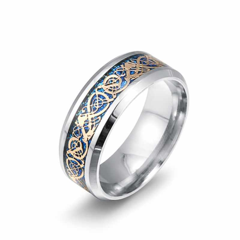 Men's Titanium Steel Rings dragon pattern Valentine's Gifts for Men's Jewelry  Rings For Women 8RD180