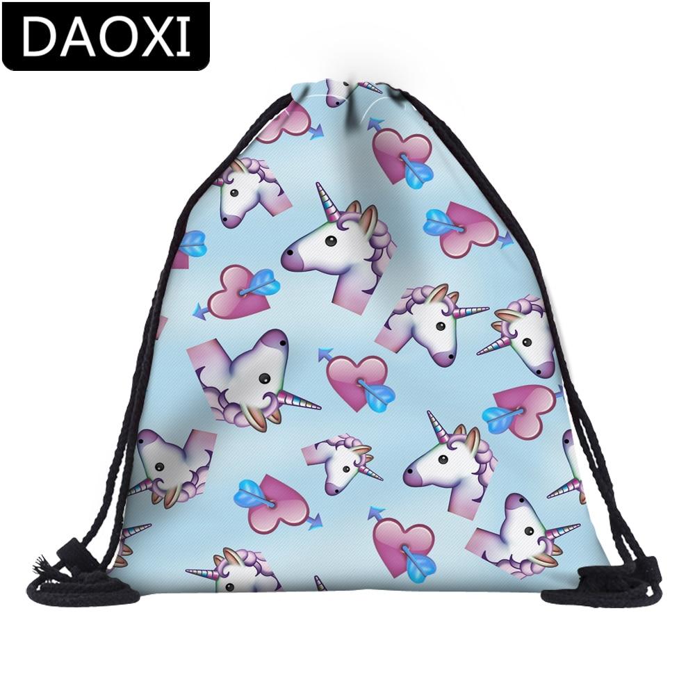 DAOXI Unicorn Love Heart Blue Drawstring Bag Girl's Women Daily Casual Drawstring Backpack DX60085