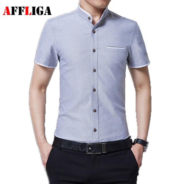 aeab67aa1 AFFLIGA Nueva Moda Casual Hombres Camiseta de Manga Corta Cuello Mao Slim  Fit Camisa de Los