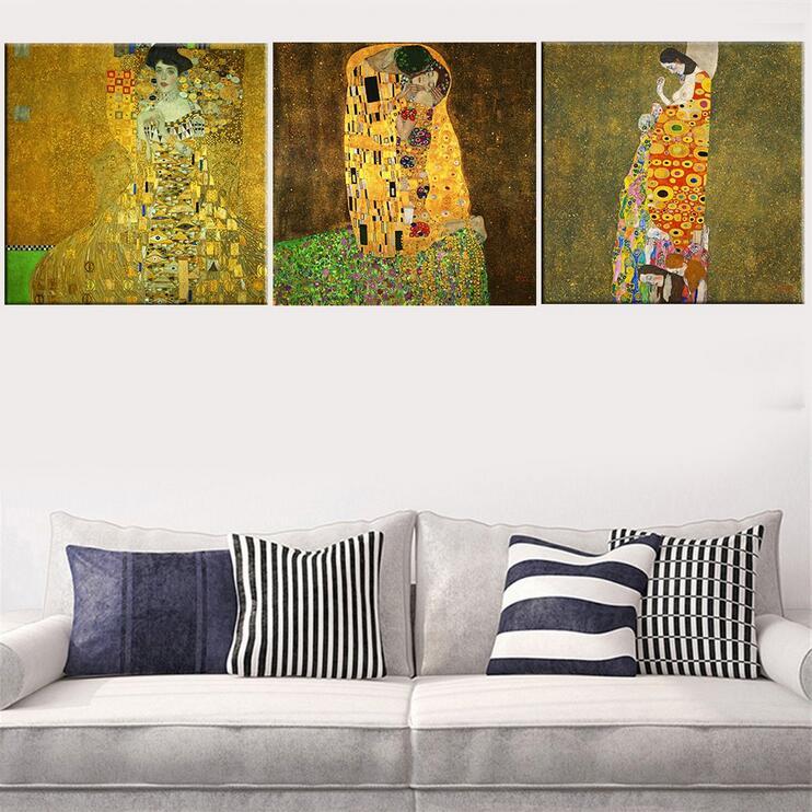 Modulární obrázky 3-dílný Gustav Klimt Kiss Prints Malování Abstraktní Plátno Umění Domácí Dekorace Obrázek Nástěnné Obrázky Pro Li