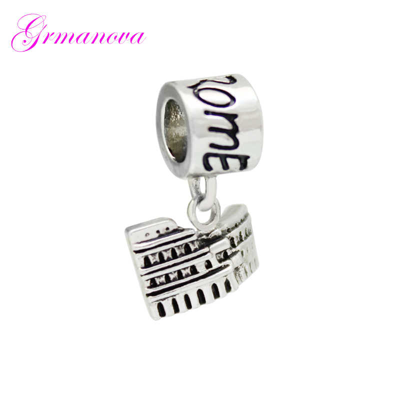 Rome ancient architecture pendant charm beads DIY jewelry classic popular accessories Fit Pandora Bracelet Women's DIY Jewelry