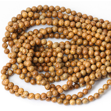 Wholesale Natural Stone Beads Wood Texture Round Beads  For Bracelet Necklace Diy Jewelry Making