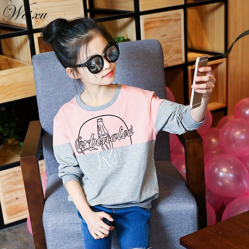 96300abed92c Weixu Children s T-shirt for Girls Spring Autumn Letter Cotton Top Blouse Shirts  Clothes for