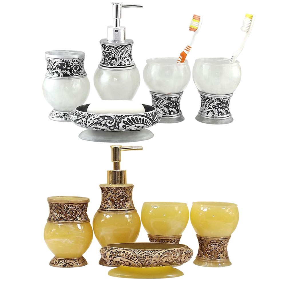 France royal golden silver bath accessory set 5 pcs for Silver bath accessories set