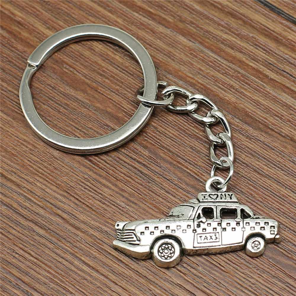 Llavero Taxi 32x17mm plata antigua nueva moda hecho a mano Metal llavero de recuerdo regalos para mujeres B12948