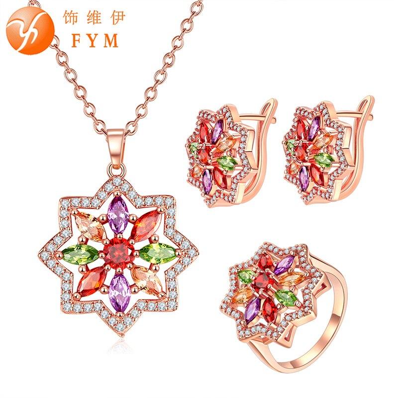 FYM модные свадебные украшения комплекты Multi Цвет AAA кубический циркон ювелирных изделий и более розового золота Цвет Bijoux Femme
