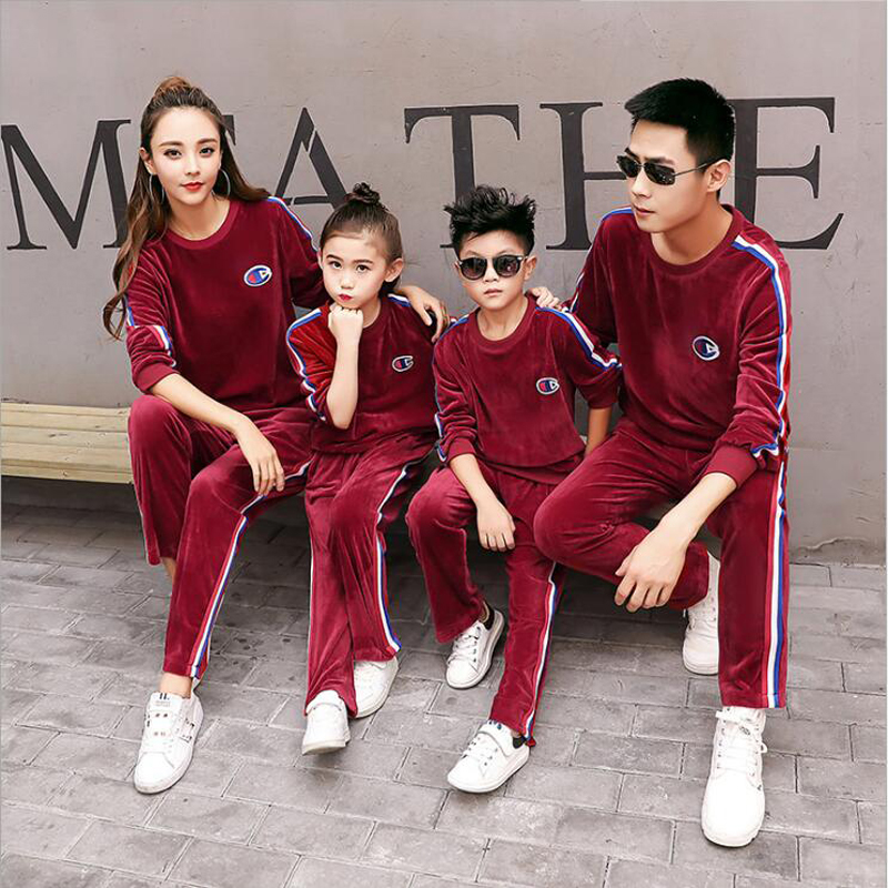 2017 Matching Mother Daughter Clothes Sets Father Mother Daughter Son Outfit Ma e Filha Family Matching Sweater Pants Sets father–daughter incest