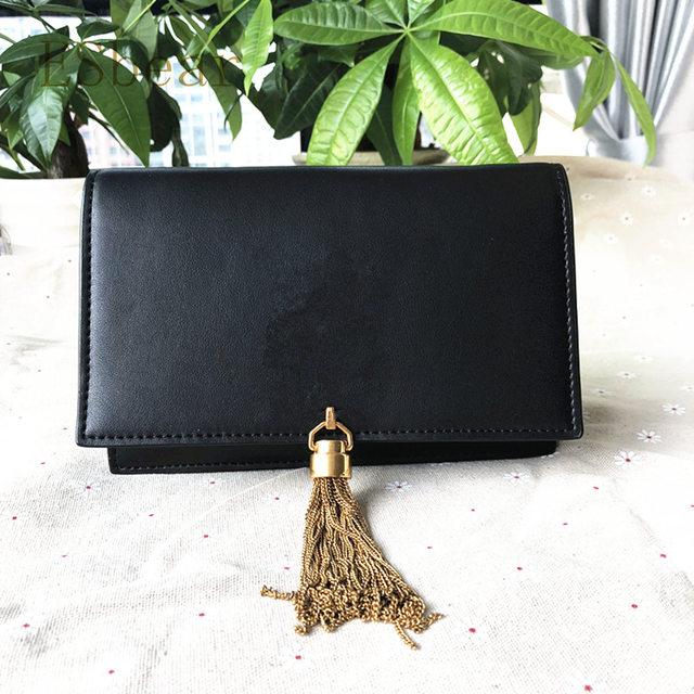 Esbear Classic Fashion Women s Shoulder Bags 100% Cow Leather Women s  Handbags Chain Woman Messenger Bag Mini Black Flap Bag f016193a393c6