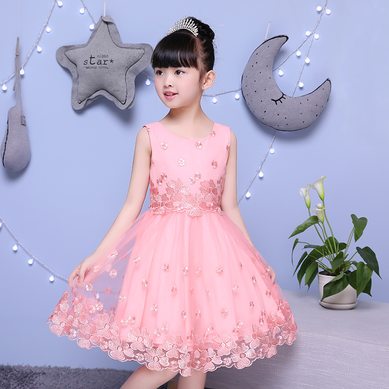 цена 2018 New Children Dance Piano Performance Dress Princess Dress Lace Embroidery Bright Flower Dress Wedding Dress.