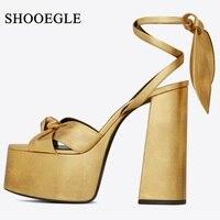 New 2019 Women's Summer Shoes Super High Heel Platform Sandals Thick Bottom Ankle Strap Gladiator Sandals Runway T stage Shoes