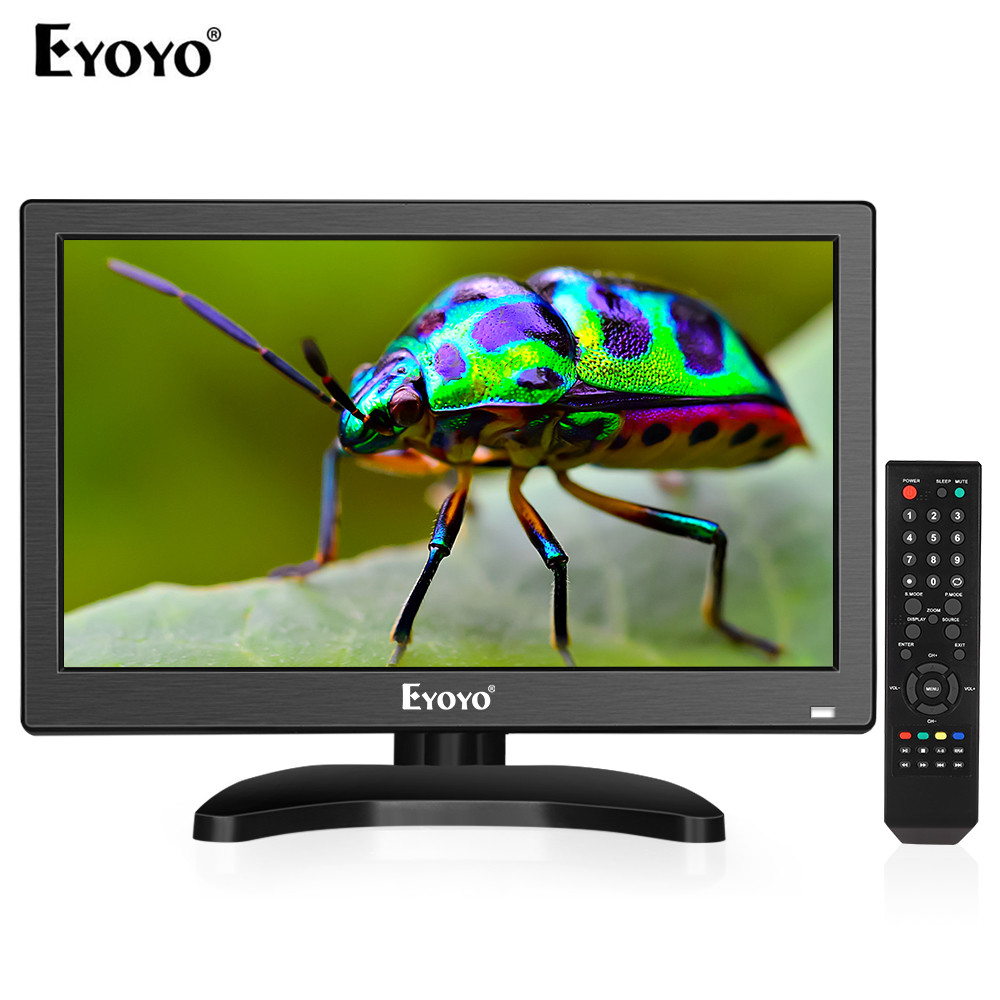 Eyoyo 12 Inch 1920x1080 IPS LCD Screen Display HDMI TV Monitor, Portable Kitchen TV With HDMI/VGA/AV/USB Input & Remote Control