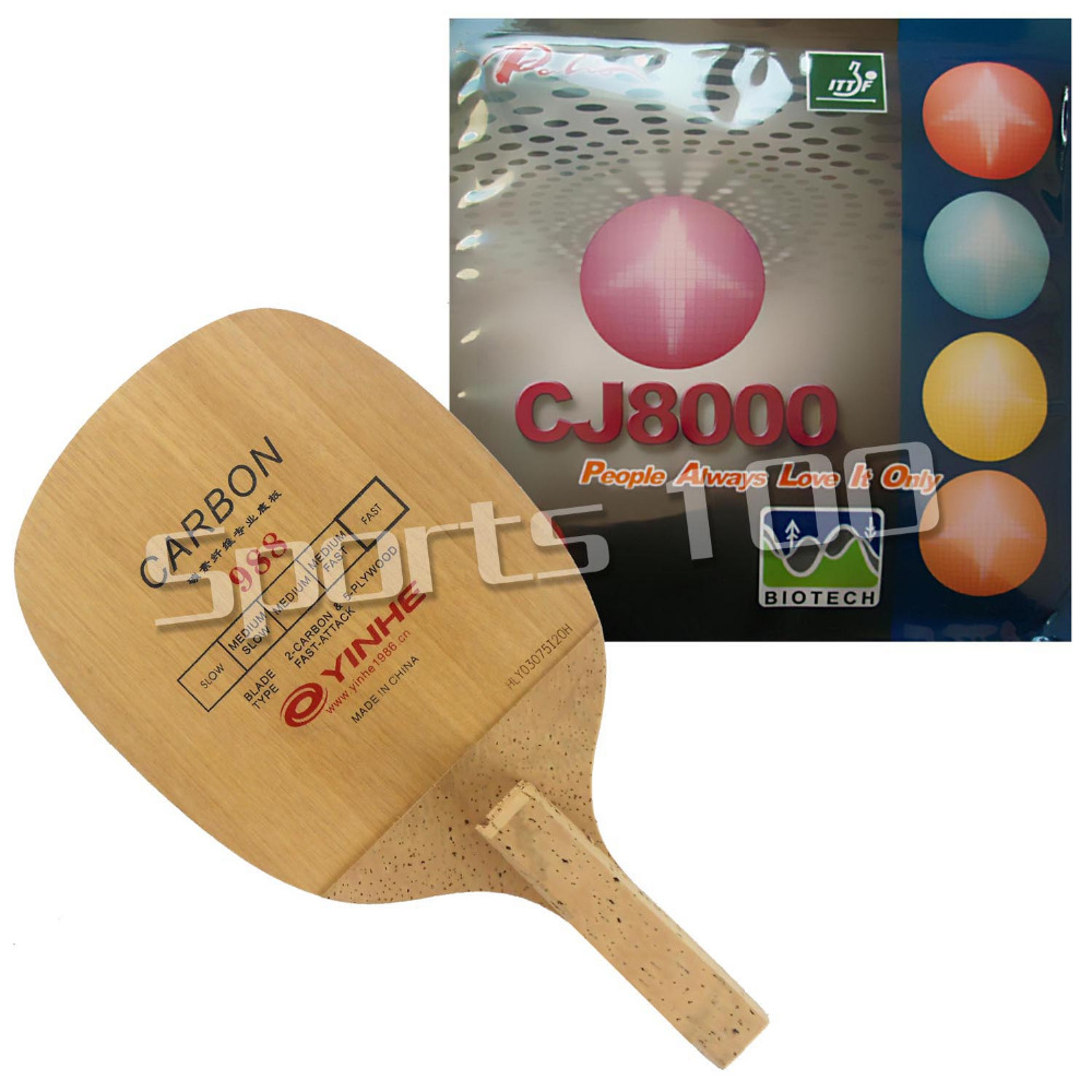 Pro Combo Table Tennis Racket Galaxy 988 (YINHE 988) with Palio CJ8000 Rubber BIOTECH 2-Side Loop Type H36-38 Japenese Penhold pro combo racket palio tct blade with 2x palio cj8000 biotech 36 38 degree rubbers