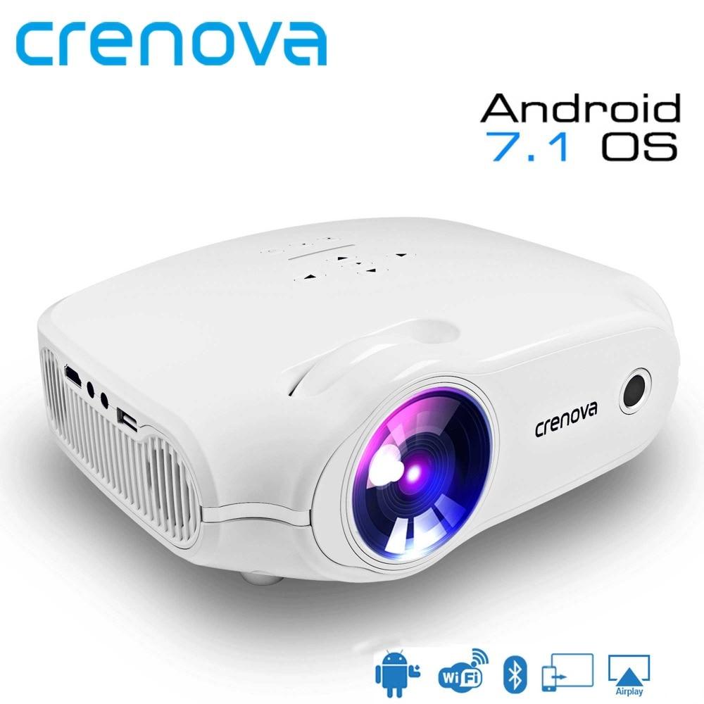 CRENOVA Home Theater Proiettore di Film Per Full HD 4 k * 2 k Video Proiettore 3200 Lumen Con Android 7.1OS wifi Bluetooth Proyector