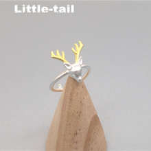 The new 925 Sterling Silver deer antlers ring opening ring fashion cute to send his girlfriend a birthday gift wholesale