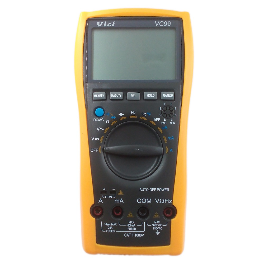 Vichy VICI VC99 3 6/7 Auto-range Digital Multimeter DC AC voltage current Resistance Capacitance Meter Tester Ammeter Voltmeter vc99 auto range 3 6 7 digital multimeter 20a resistance capacitance meter voltmeter ammeter alligator probe thermal couple tk