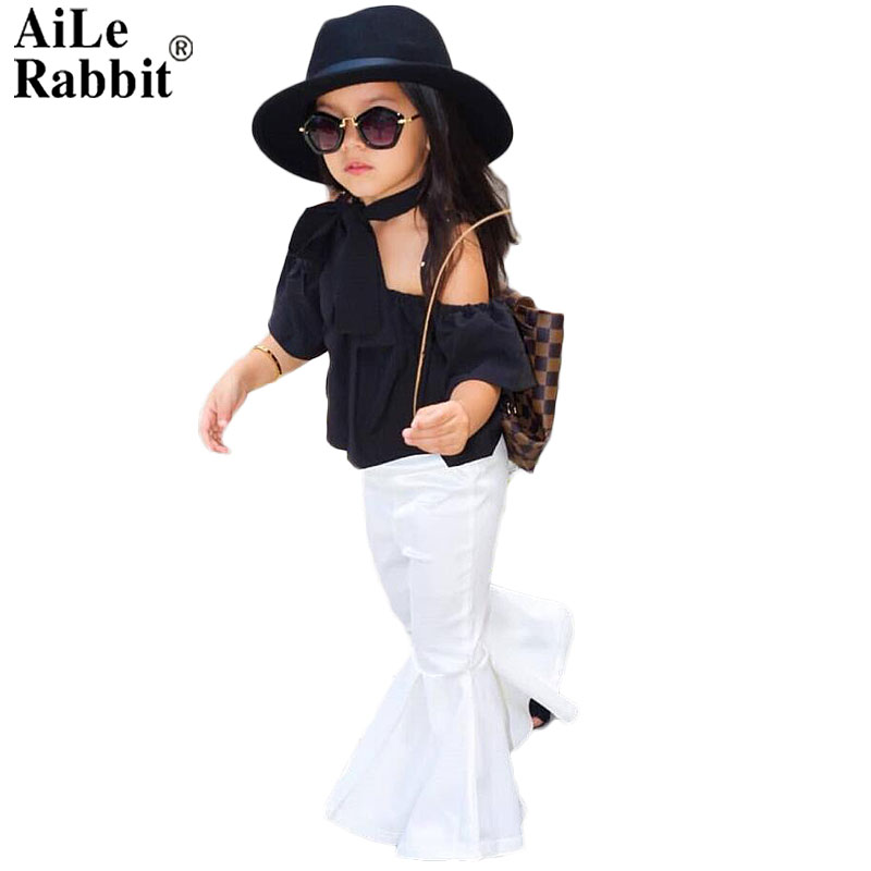 AiLe Rabbit 2018 New Girls Clothing Sets Baby Kids Clothes Children Clothing T Shirt + pants 2pcs Lipstick patch fashion set 2pcs children outfit clothes kids baby girl off shoulder cotton ruffled sleeve tops striped t shirt blue denim jeans sunsuit set