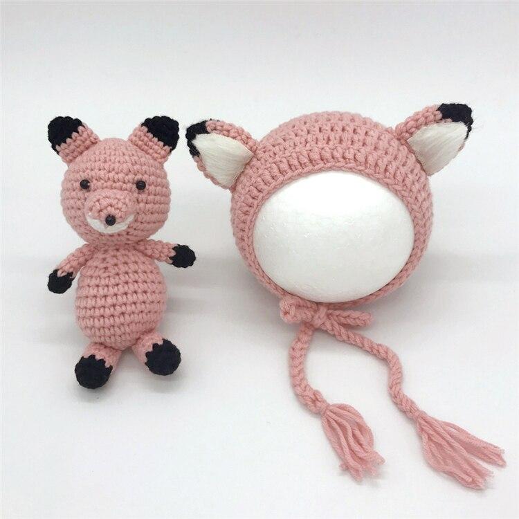 malha raposa boné brinquedo recém-nascido fotos acessórios bonnet