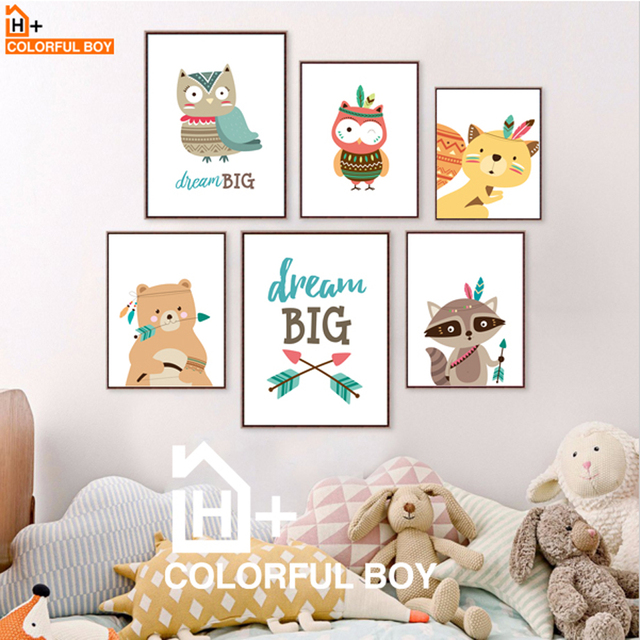 COLORFULBOY Modern Kawaii Animals Baby Dream Quotes Canvas ...