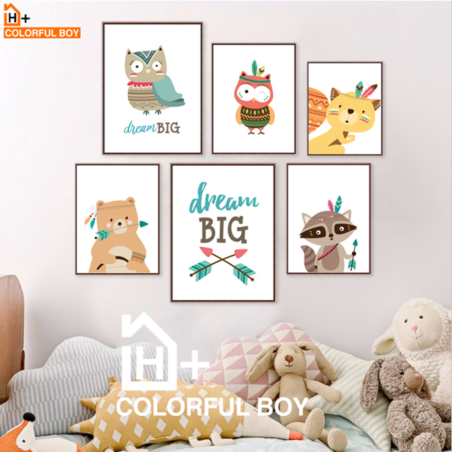 COLORFULBOY Modern Kawaii Animals font b Baby b font Dream Quotes Canvas Painting For Kids Room