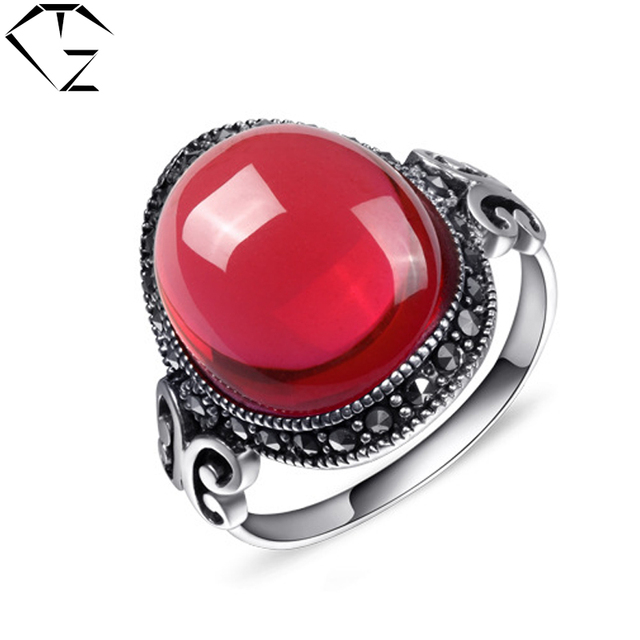 GZ Punk 100% Pure 925 Sterling Silver Garnet Red Stone Rings for Women Jewelry S925 Thai Silver Ring Lady Wedding Gift LR61