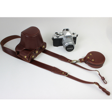 Coffee Real Genuine Leather Case with Wrist Strap font b Camera b font Hard Bag For