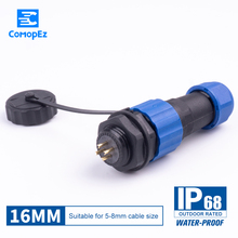 SP16 Waterproof Connector IP68 Cable Plug & Socket Male And Female 2 3 4 5 6 7 9 Pin SD16 16mm