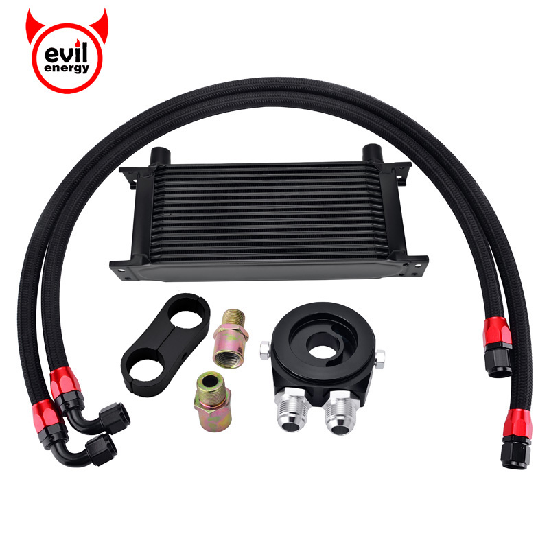 evil energy 16Row AN10 Engine Racing Oil Cooler Kit Oil Adapter Filter Swivel Fuel Oil Hose