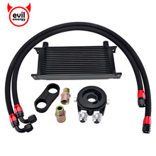 evil energy 16Row AN10 Engine Racing Oil Cooler Kit+Oil Adapter Filter+Swivel Fuel Hose Line+AN10 Seprator Divider Clamp