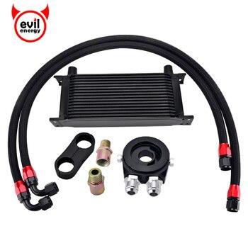цена на evil energy 16Row AN10 Engine Racing Oil Cooler Kit+Oil Adapter Filter+Swivel Fuel Oil Hose Line+AN10 Seprator Divider Clamp
